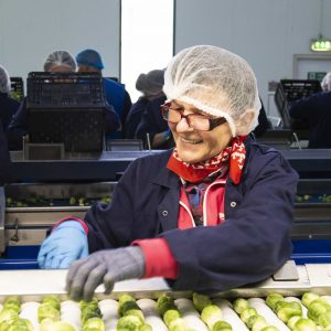 Woman smiles while processing brussels sprouts in food factory.